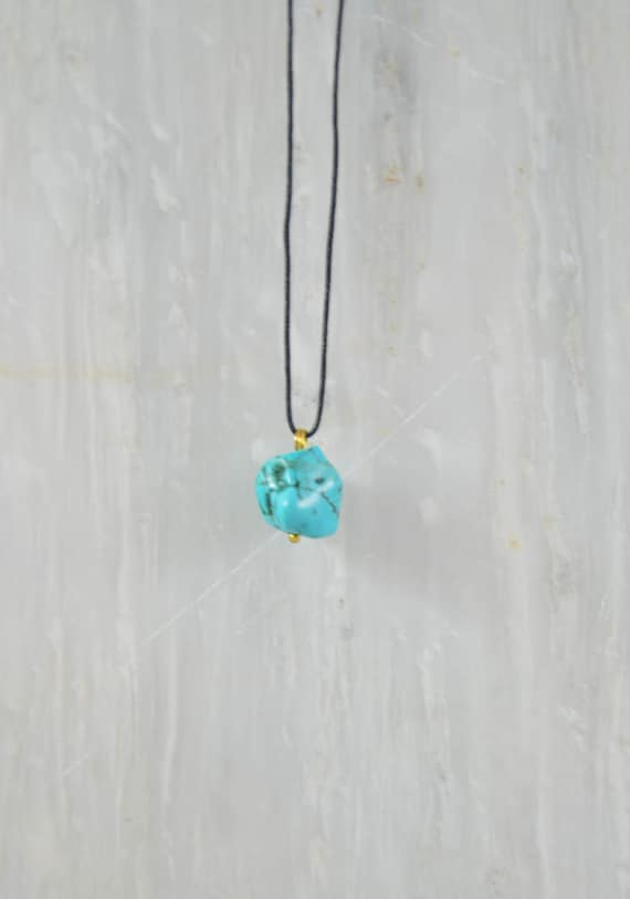 Mens turquoise stone necklace mens necklace black mens turquoise stone necklace mens necklace black cord pendant jewelry for men mens gift aloadofball Image collections