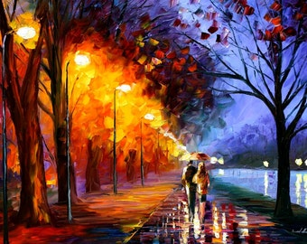 Large Modern Oil Painting On Canvas By Leonid Afremov - Alley By The Lake