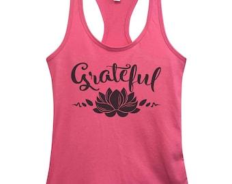 "Cute Womens Yoga Fashion Tanks - "" Grateful "" - Workout Racerbacks - Religious Gym Collection Shirts - 5023"