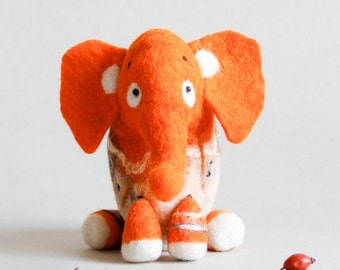 Gisela - Felt Elephant Art Toy. Puppet, Marionette. Felt toy. Orange Elephant.Gift for kids. Stuffed Toy. bright sunny.