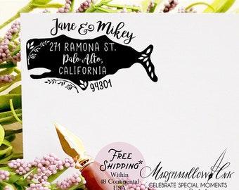 Personalized Address Stamp Housewarming Gift, Whale Stamp Custom Return Address Stamp, Wedding Gift Wedding Stamp New Home Gift Welcome Home