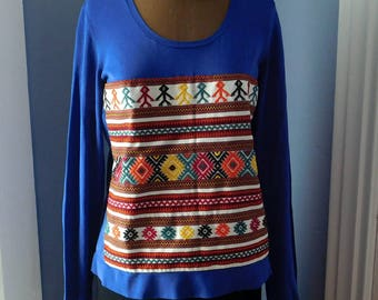 Upcycled Appliqued Long-Sleeved T-Shirt - Vintage Embroidery Panel - Gently Worn Amber Sun Blue Tee - Recycled - OOAK Hand-Stitched Boho