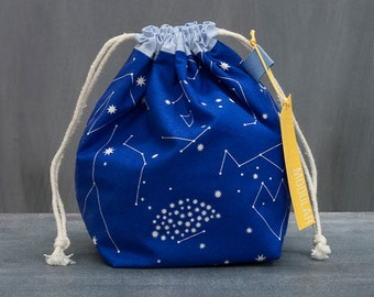 Sock Project Bag - Asterisms in Blue - Constellations by Lizzy House - Knitting Crochet WIP
