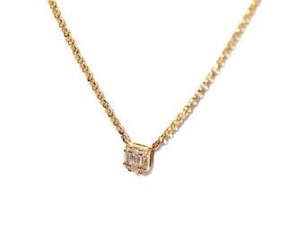 18k Petite Baguette Diamond Necklace/Choker/Layering Necklaces