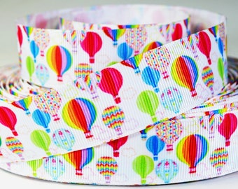 "1"" Hot Air Balloons Printed Grosgrain Balloon Ribbon"