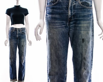 Vintage 505 Levis w 29 l 34 Perfect fit vintage LEVIS Distressed Baggy BOYFRIEND jeans slouchy broken in denim workwear faded hige whiskered