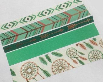 Tribal Washi Tape, Dreamcatcher Tape, Boho Planner Tape, Rose Gold Tape, Teal Tape, Washi Tape Sample, Native American, Planner Stickers