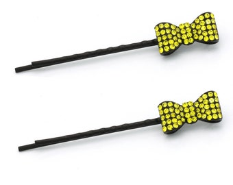 Hand Made Hair Jewelry Pair of Bobby Pins with Little Bow, Yellow Rhinestone(SO6093-yl)