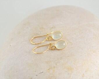 14k Yellow Gold Gemstone Earrings, Genuine Moonstone Dangle Earrings, 14k gold Dangle Earrings !