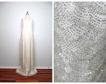 Vintage Inspired Heavily Beaded Wedding Gown // Glass Beaded Full Length Dress // Art Deco Wedding Dress