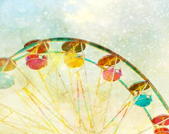 Nursery art, baby boy, hearts, carnival theme, ferris wheel, little boys room, circus art, infant, wall art, pastel colors