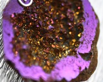 Purple Titanium Geode - pendant