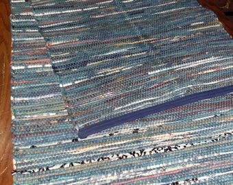 Handwoven Rag Rug (Water Lillies,106)-248s