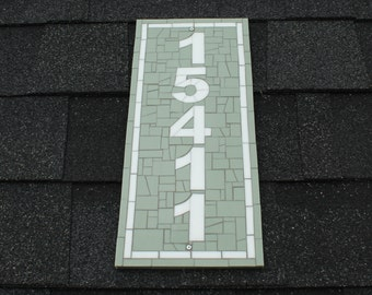 Vertical Mosaic Address Plaque in Green and White Stained Glass, Mosaic House Number