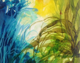 Original painting jungle plants and roots in green and blue. Collage acrylic on canvas. Abstract landscape. Contemporary art. Floral art.