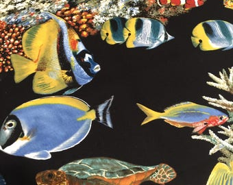 SALE Sea World Fabric From Michael Miller, Sea Turtle, Clownfish, Coral Fabric  3.75 yard cut