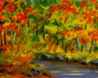 Autumn landscape Original ACEO oil painting by Elaine Farmer