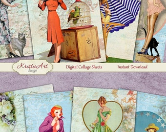 75% OFF SALE Retro Dreams - Digital Collage Sheet C096 Digital Cards Printable Download Image Tags Digital Atc Card ACEO Retro Cards