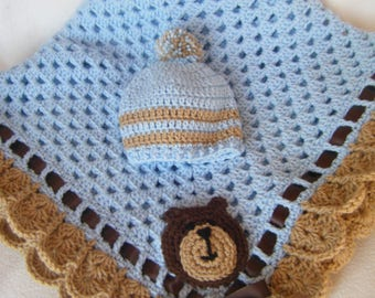 """Cute Crocheted Granny Square Baby Boy Blanket With Matching Hat in Light Blue and Beige 36""""x36"""" - Ready to Ship"""