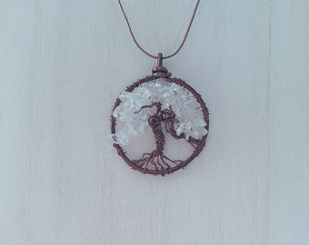 """Tree of Life Necklace Antiqued Copper with Crystal Beads 18"""" [Hallowed Hearts] Gift, Birthday, Holidays"""