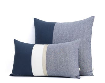 Navy Chambray Pillow Cover (Set of 2) 12x20 Gold Stripe and 20x20 Colorblock - Modern Home Decor by JillianReneDecor - Nautical Pillows