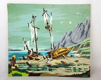 "Vintage Paint by Number Shipwreck Sea Ocean Seascape Nautical Beach 18"" x 16"""