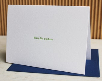 Sorry I'm a Jackass - Letterpress Greeting Card