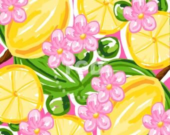 Preppy lemon pink and green digital paper - Original Art download, lemon digital paper, preppy digital paper, pink and green digital paper