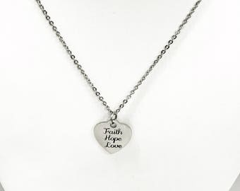 Christian Jewelry, Faith Hope Love Jewelry, Faith Hope Love Necklace, Christian Gifts, Christian Valentine Necklace, 1 Cor 13 Jewelry Gifts
