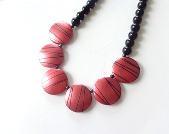 Red Black bronze statement necklace, bronze necklace