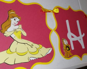 Beauty and the Beast Happy Birthday Banner, Beauty and the Beast red & yellow Birthday Banner, Beauty and the Beast Party Decoration,
