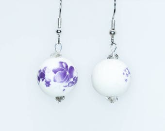 Purple and White Ceramic Earrings