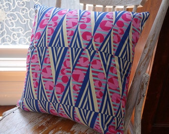 Amy Butler Hapi Glow Navy Cushion Cover/pillow 45cm backed with EST French linen