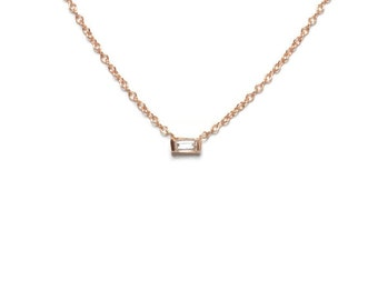Baguette Diamond Solitaire Necklace / 14K Solid Gold / Rose, White, Yellow / 2x4 Diamond, Simple, Modern, Delicate, Layering, Floating