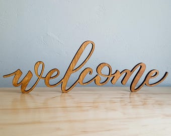 Welcome Sign - Handlettered Calligraphy - Laser-cut Baltic Birch Wood