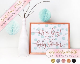 Baby Shower Sign, Printable, Baby Shower, It's A Boy, Boy Baby Shower, Baby Shower Decorations, Watercolour Confetti,  Watercolour Signage