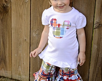 Madras Mickey inspired Outfit Ruffled Shorts and Ruffled Tee Sizes 12m - 4
