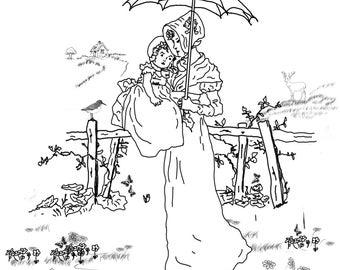 Woman Baby Umbrella
