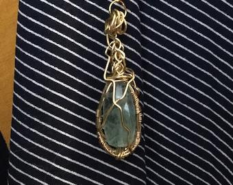 Olivine Wirewrapped Pendant Necklace /Gemstone Pendant/Olivine Stone Pendant