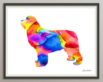 newfoundland dog art print watercolor print poster painting wall art silhouette , dog wall art