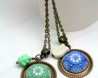 Fantaisie en verre Vintage pendentif colliers choix bleu vert espagnol tuile Style