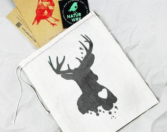Deer Gift Bag, Cotton Gift Bag, Deer Sac, Deer Gift Bag, Green Deer, Drawstring Pouch, Reusable Gift Bag, Eco Friendly Ink