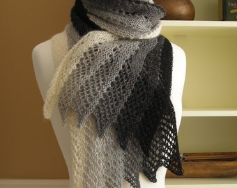 Lace Scarf Knitting Pattern PDF Mistral Scarf - French inspired gradient rectangle lace scarf wrap cowl stole - easy pattern no charts