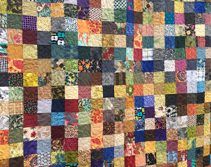 Fall Colors Queen Patchwork Quilt - Country Quilt - Utility Quilt- Quilts for Queen Bed - King Quilt