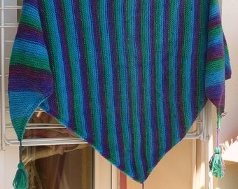 Tassels, blue-purple-green triangle shawl