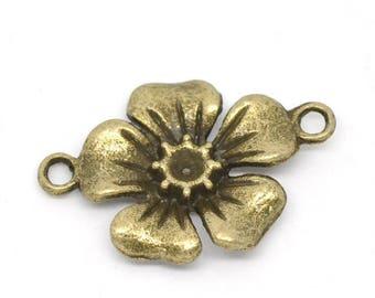 Lot 4 18x27mm bronze flower connectors