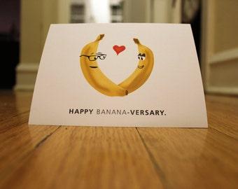 Happy Banana-versary. Blank, Illustrated, Fruit Pun Greeting Card