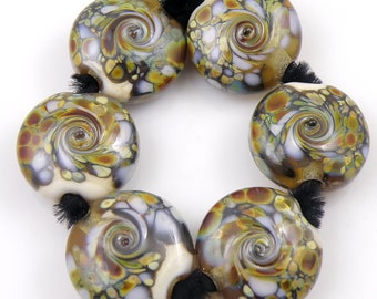 Psychedelic Gecko SRA Lampwork Handmade Artisan Glass Lentil Beads 18mm Made to Order Set of 6