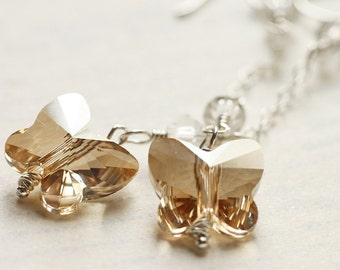 Spring Wedding Golden Butterfly Swarovski Crystal Sterling Silver Earrings - Golden Butterflies