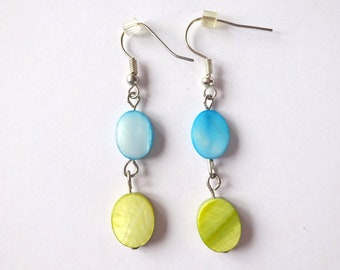 Green and blue mother of pearl earrings